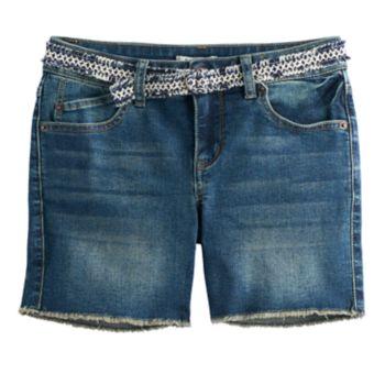 Girls 7-16 Mudd® Frayed Hem Midi Jean Shorts with Belt