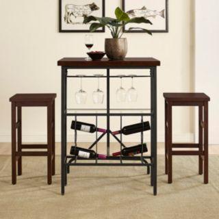 Crosley Furniture Sienna Wine Rack Bistro Table & Bar Stool 3-piece Set