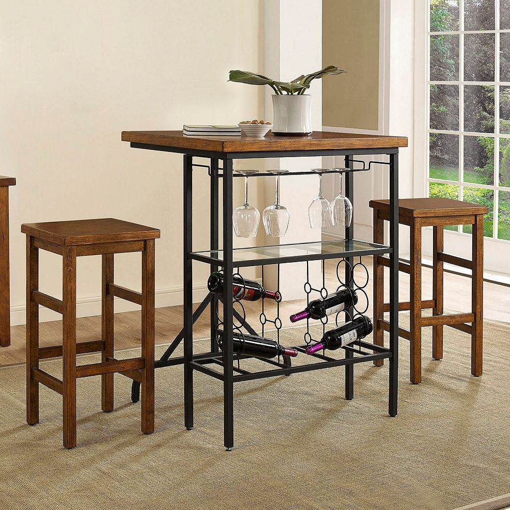 Crosley Furniture Sienna Wine Rack Bistro Table Bar Stool 3 Piece Set