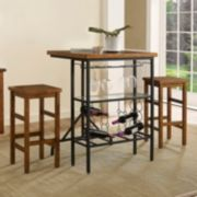 Crosley Furniture Sienna Wine Rack Bistro Table & Bar Stool 3-piece Set