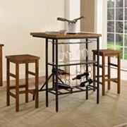 Crosley Furniture Sienna Wine Rack Bistro Table & Bar Stool 3 pc Set