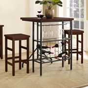 Crosley Furniture Sienna Wine Rack Bistro Table & Bar Stool 3 pc Set