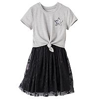 Girls 7-16 Three Pink Hearts Tie Front Top & Overlay Skirt Dress