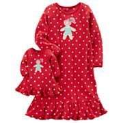 Toddler Girl Carter's 2 pc Gingerbread Girl Dotted Night Gown and Doll Gown Set