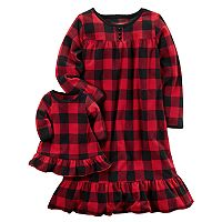 Toddler Girl Carter's 2-pc. Buffalo Plaid Night Gown and Doll Gown Set