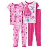 Girls 4-10 DreamWorks Trolls Poppy 4-pc. Tees & Bottoms Pajama Set