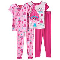 Girls 4-10 DreamWorks Trolls Poppy 4 pc Tees & Bottoms Pajama Set