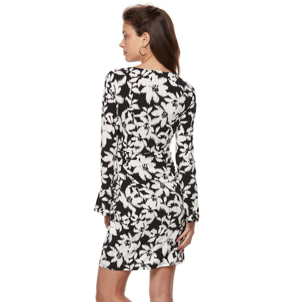 Petite Suite 7 Floral Ikat Faux-Wrap Dress