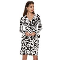 Petite Suite 7 Floral Ikat Faux-Wrap Dress