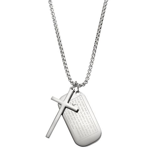 1913 Men's Stainless Steel The Lord's Prayer Dog Tag Necklace