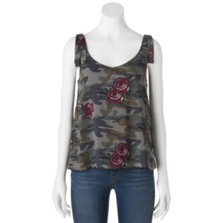 Juniors' Vanilla Star Rose &  Camo Tank
