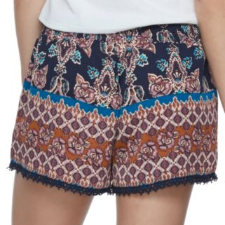 Juniors' About A Girl Printed Crochet Trim Shorts