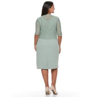 Plus Size Maya Brooke Lace-Trim Sheath Dress & Jacket Set