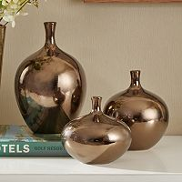 Madison Park Signature Bronze Finish Vase 3 pc Set