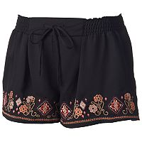 Juniors' About A Girl Embroidered Drawstring Shortie Shorts