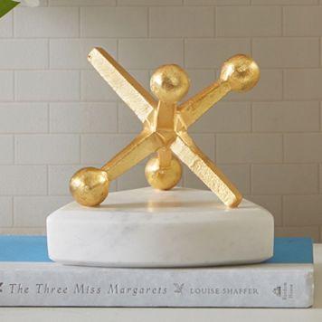 Madison Park Signature Gold Finish Marble Jack Table Decor