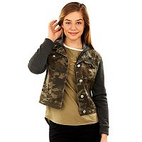 Juniors' Wallflower Hooded Camo Denim Jacket