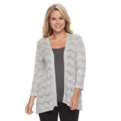 Petite Croft & Barrow® Chevron-Stitch Open Front Cardigan