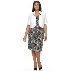 Plus Size Maya Brooke Polka-Dot Sheath Dress & Embellished Jacket Set