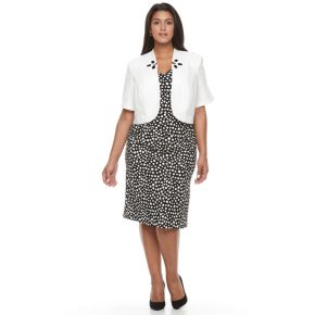 Plus Size Maya Brooke Polka-Dot Sheath Dress & Embellished Jacket Set