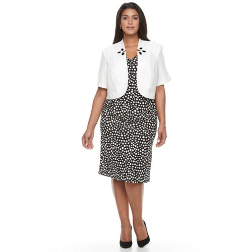 d3e21bde6080 Plus Size Maya Brooke Polka-Dot Sheath Dress & Embellished Jacket ...