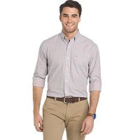 Men's IZOD Essential Regular-Fit Checked Button-Down Shirt