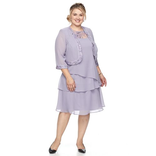 Plus Size Le Bos Embroidered Tiered Evening Dress Jacket Set