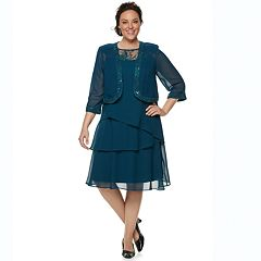 Plus Size Le Bos Embroidered Tiered Evening Dress & Jacket Set