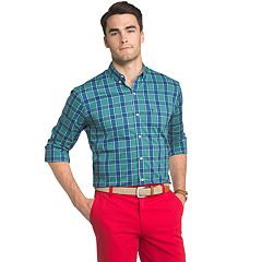 Men's IZOD Advantage Regular-Fit Sport Flex Plaid Stretch Button-Down Shirt