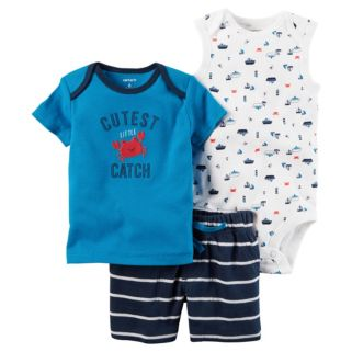 "Baby Boy Carter's Boat Bodysuit, ""Cutest Little Catch"" Tee & Striped Shorts Set"