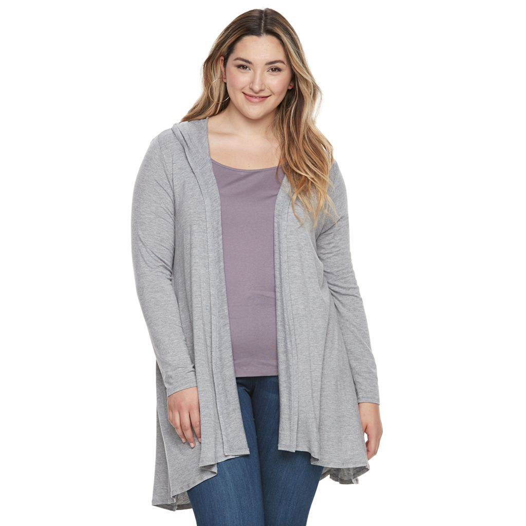 Plus Size French Laundry Hooded Flyaway Cardigan