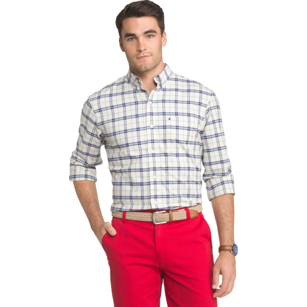 IZOD Saltwater Regular-Fit Plaid Oxford Button-Down Shirt