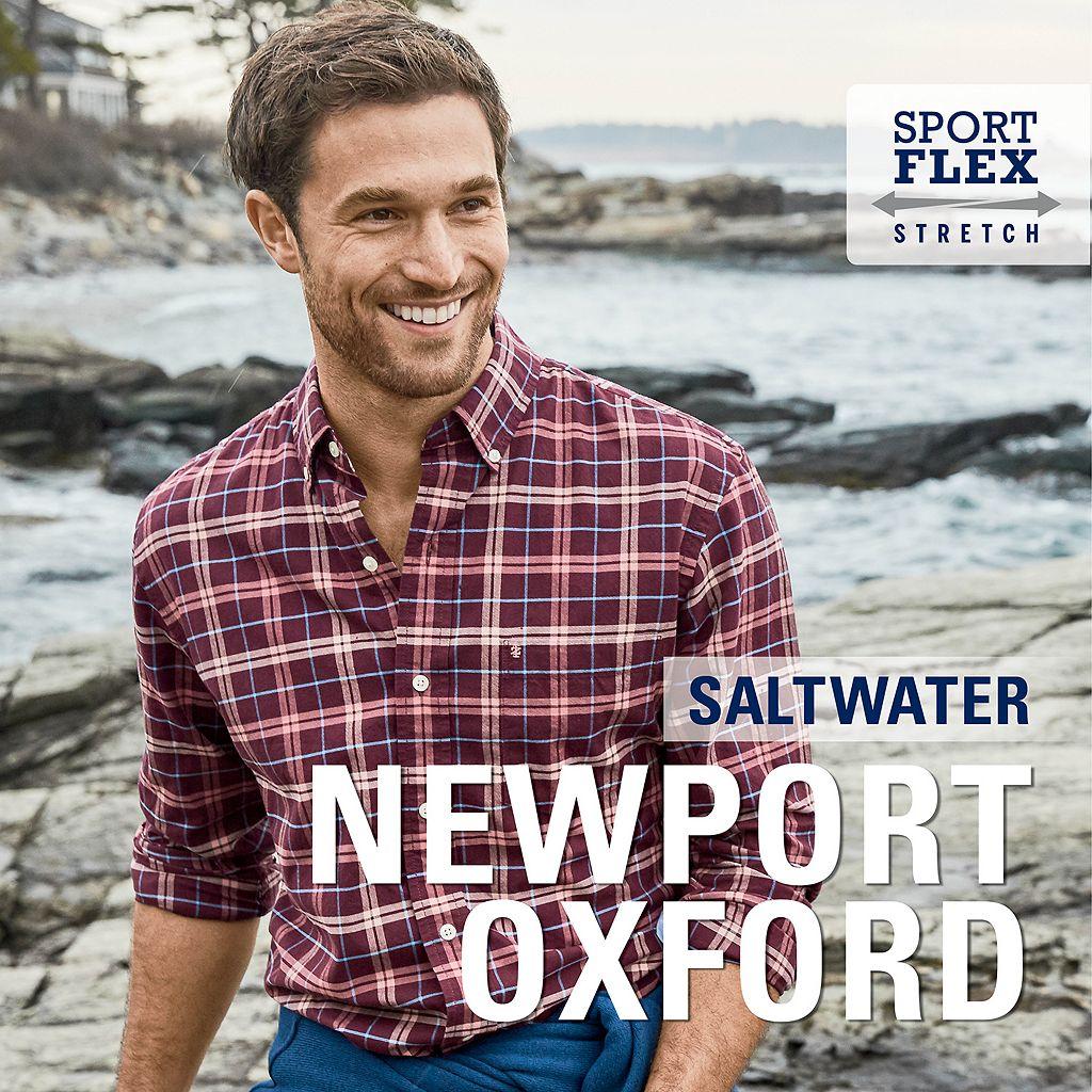 Men's IZOD Saltwater Regular-Fit Plaid Oxford Stretch Button-Down Shirt