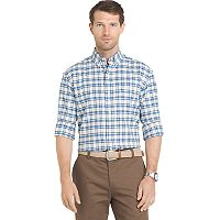 Men's IZOD Saltwater Regular-Fit Plaid Stretch Button-Down Shirt