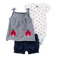 Baby Girl Carter's Ladybug Bodysuit, Striped Tank Top & Bubble Shorts Set