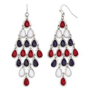 Red, White & Blue Teardrop Kite Earrings