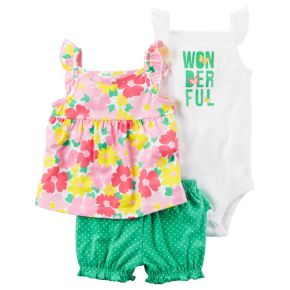 "Baby Girl Carter's ""Wonderful"" Bodysuit, Floral Tank Top & Polka-Dot Bubble Shorts Set"