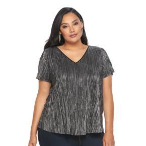Plus Size Jennifer Lopez Foiled V-Neck Top