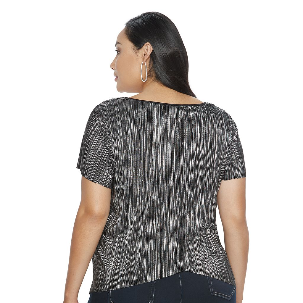 Plus Size Jennifer Lopez Foiled V-Neck Top