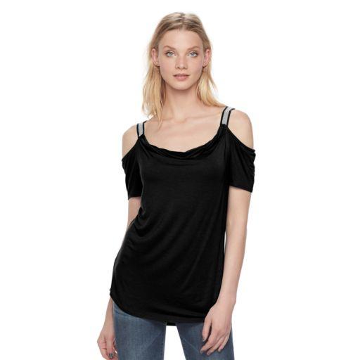 Women's Rock & Republic® Chain Accent Cold-Shoulder Top