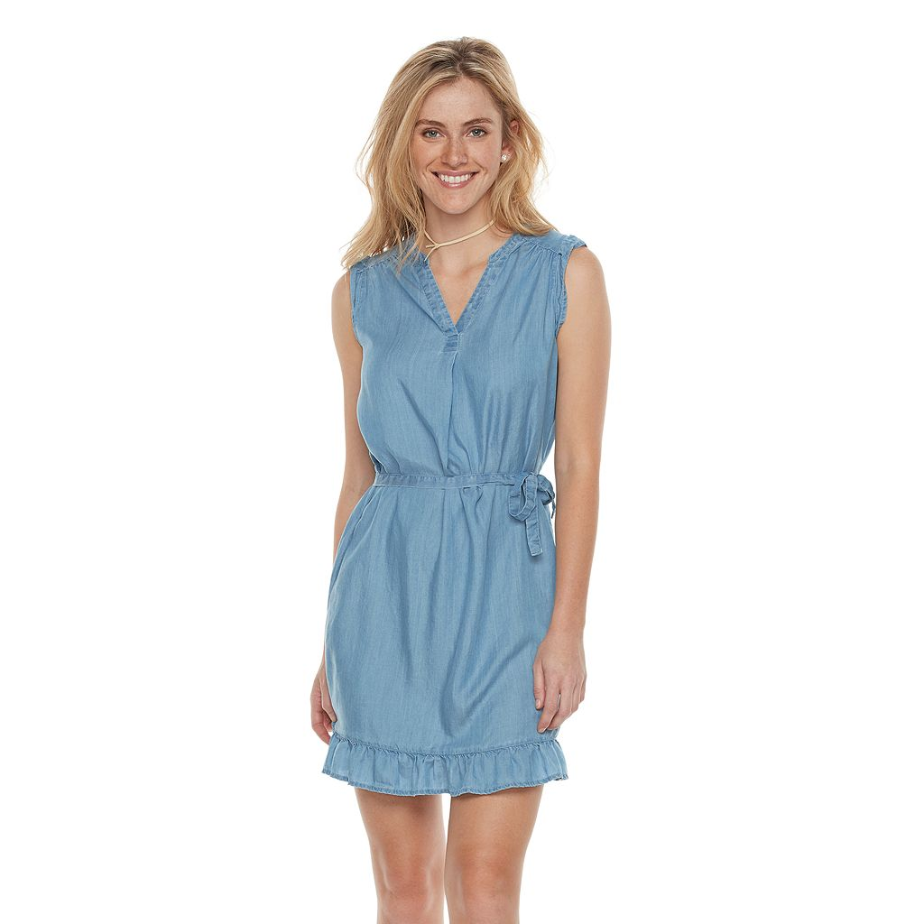 Women's SONOMA Goods for Life™ Ruffle Chambray Shift Dress