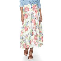 Petite Chaps Tiered Maxi Skirt