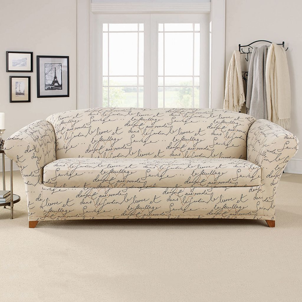 Sure Fit 2-piece Waverly Stretch Pen Pal Sofa Slipcover