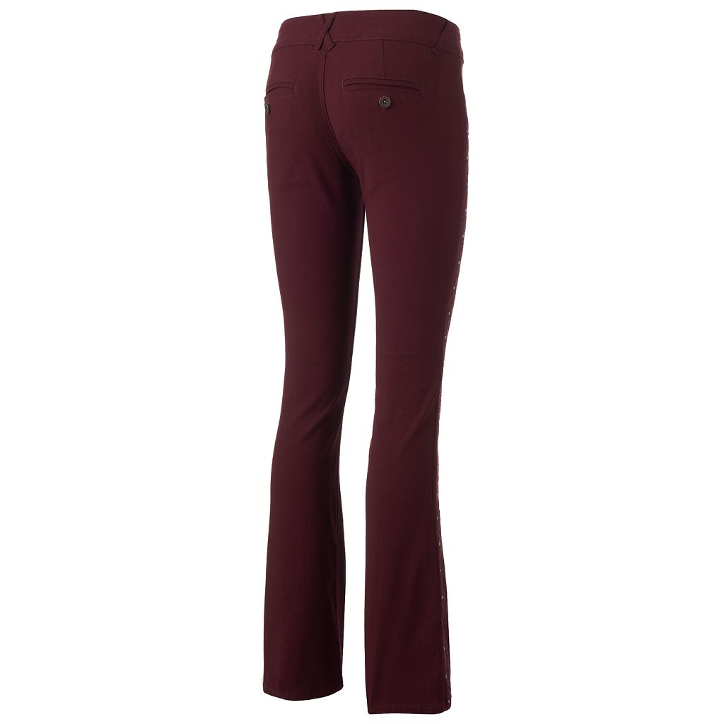 Juniors' Hydraulic Studded Side Bootcut Pants