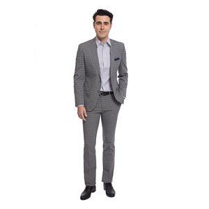 Men's Nick Dunn Modern-Fit Windowpane Unhemmed Suit
