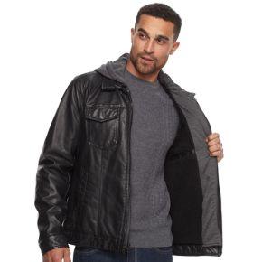 Men's Levi's® Sherpa-Lined Faux-Leather Hooded Trucker Jacket