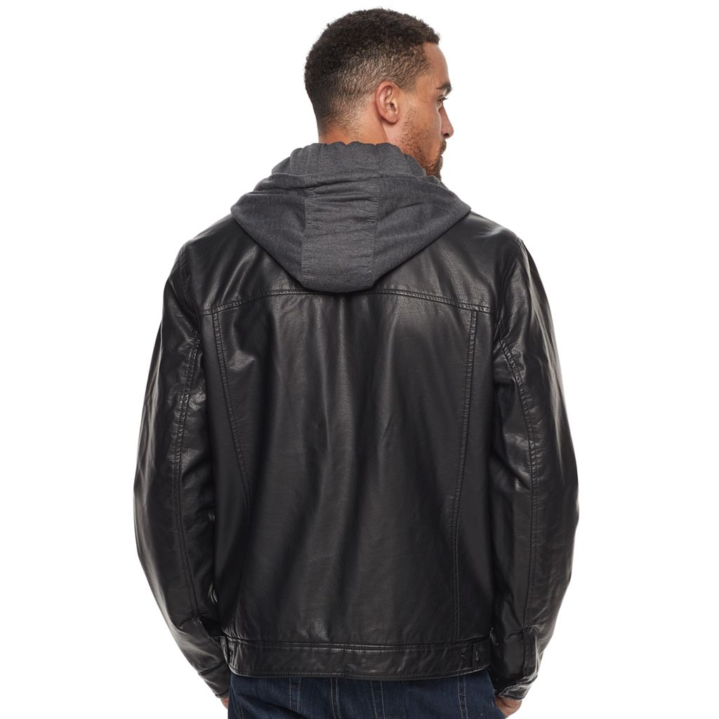 Men's Levi's® Sherpa-Lined Faux-Leather Hooded Trucker Jacket