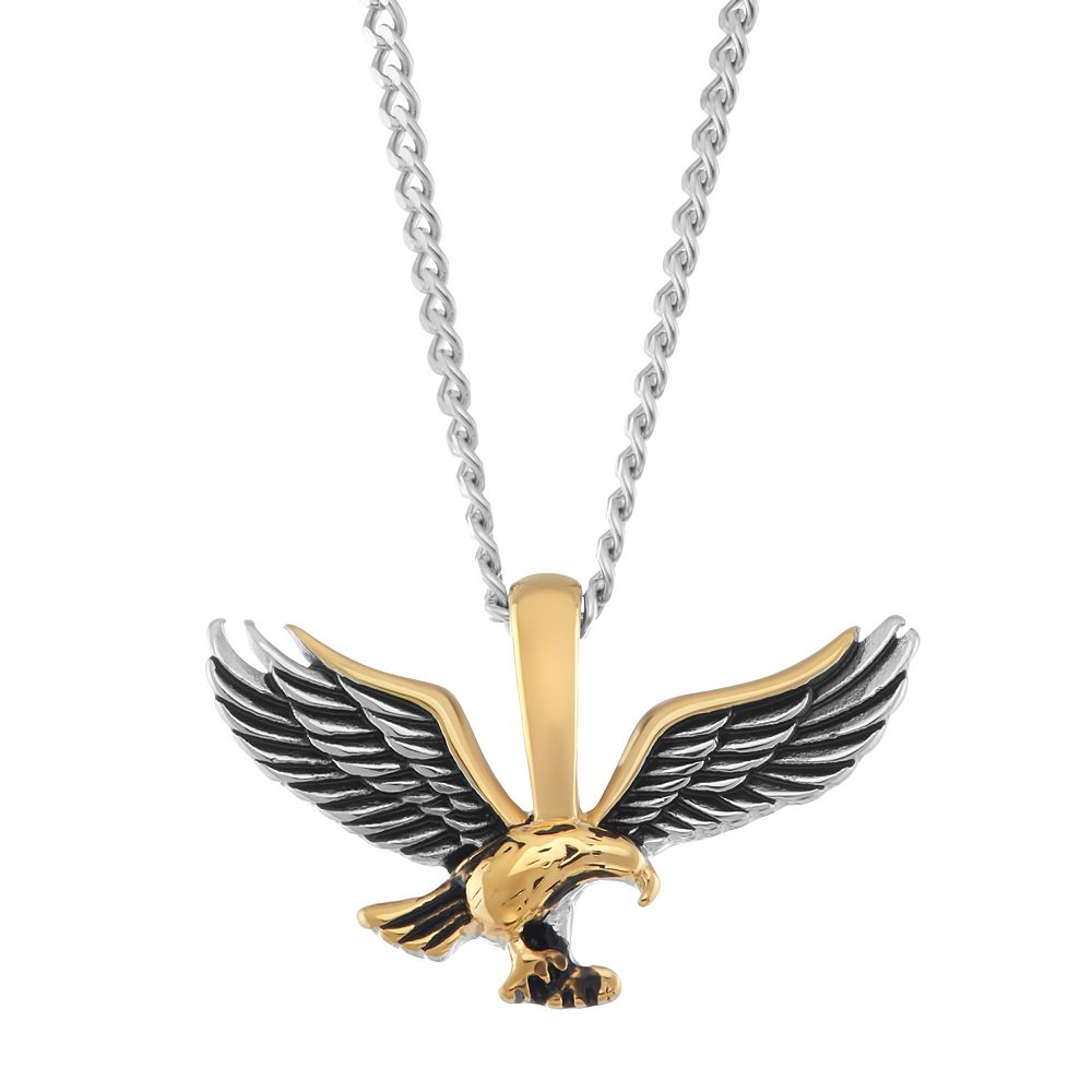 Mens two tone stainless steel eagle pendant necklace aloadofball Choice Image