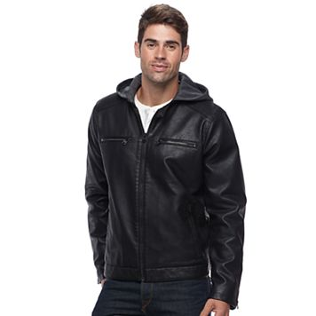 Men's Levi's Vintage Faux-Leather Hooded Racer Jacket