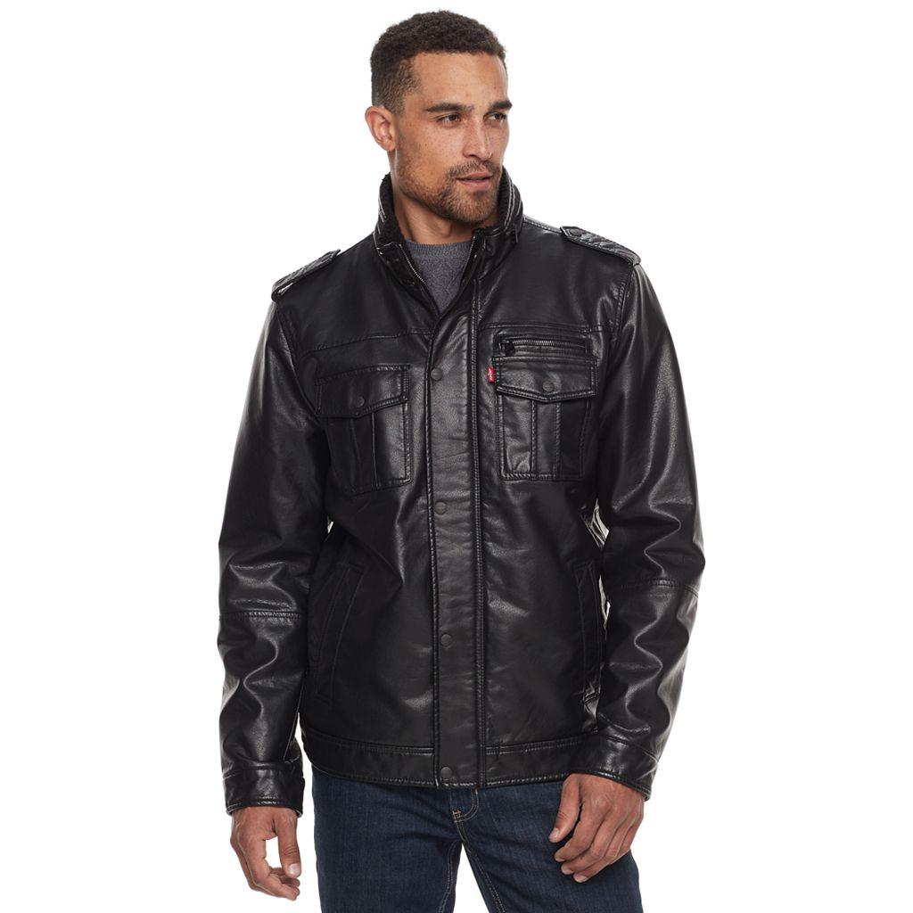 Men's Levi's® Sherpa-Lined Faux-Leather Trucker Jacket